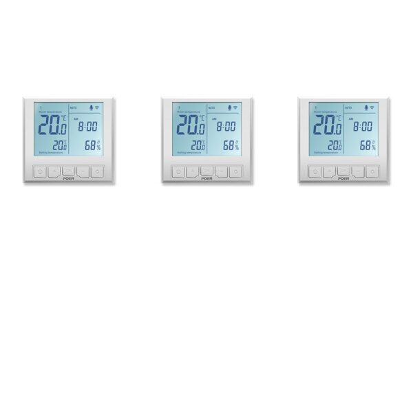 Pachet 3 termostatate inteligente de pardoseala POER Smart cu comenzi vocale Google Home si Alexa prin internet